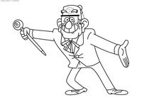 Дядя Стэн - скачать и распечатать раскраску. Раскраска Дедушка из Гравити Фолз