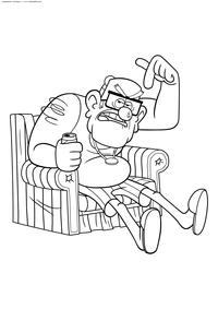 Стэн в кресле - скачать и распечатать раскраску. Раскраска Дедушка из Гравити Фолз