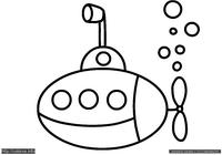 Подлодка - скачать и распечатать раскраску. Раскраска Раскраска для малышей подводная лодка, раскраска для маленьких подлодка
