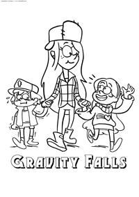 Диппер, Венди и Мэйбл - скачать и распечатать раскраску. Раскраска Дети из Гравити Фолз