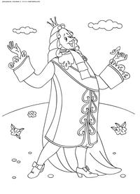 Король восторгается хрустальной туфелькой - скачать и распечатать раскраску. Раскраска Король держит хрустальную туфельку, Мультфильм Золушка картинки