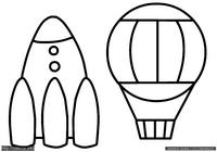 Ракета и шар - скачать и распечатать раскраску. Раскраска Раскраска для малышей ракета, простая раскраска воздушный шар для маленьких детей