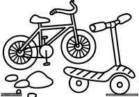 Велосипед и самокат - скачать и распечатать раскраску. Раскраска Простая раскраска велосипед для малышей, раскраска самокат для самых маленьких детей