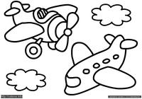 Самолетики - скачать и распечатать раскраску. Раскраска Простая раскраска самолеты для маленьких детей, раскраски для малышей самолеты