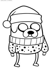 Пес Джейк - скачать и распечатать раскраску. Раскраска Волшебный пес, собака из мультфильма Время приключений