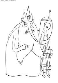 Марселин в плену у Ледяного Короля - скачать и распечатать раскраску. Раскраска Время приключений