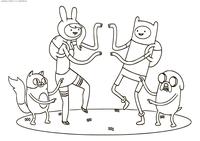 Кейк и Фиона, Финн и Джейк - скачать и распечатать раскраску. Раскраска Время приключений, гендерно-измененные версии Джейка Пса и мальчика Финна в фанфике Ледяного Короля