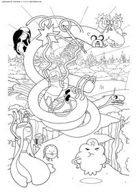 Время приключений - скачать и распечатать раскраску. Раскраска Волшебная страна, Финн, Джейк, леди Ливнерог, Марселин, Ледяной король, БиМо, принцесса Пупырка, Мятный Лакей