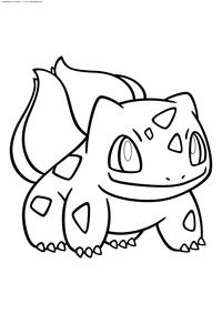 Покемон Бульбазавр (Bulbasaur) - скачать и распечатать раскраску. Раскраска Покемон Бульбазавр относится к травяному и ядовитому типу. Эволюционирует в Ивизавра