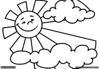 Солнце - скачать и распечатать раскраску. Раскраска Простая раскраска солнце в облаках, раскраска для малышей солнышко в тучке