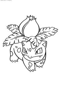 Покемон Ивизавр (Ivysaur) - скачать и распечатать раскраску. Раскраска Покемон Ивизавр  относится к травяному и ядовитому типу. Эволюционирует в Венузавра