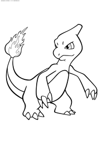 Покемон Чармелеон (Charmeleon) - скачать и распечатать раскраску. Раскраска Чармелеон - покемон Огненного типа. Эволюционирует из покемона Чармандер на 16 уровне. Эволюционирует в покемона Чаризард на 36 уровне