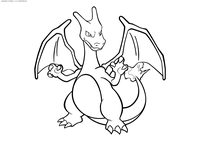 Покемон Чаризард (Charizard) - скачать и распечатать раскраску. Раскраска Чаризард - покемон двух типов: Огненный и Летающий. Эволюционирует из покемона Чармелеон на 36 уровне