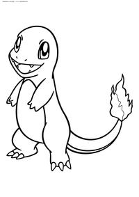 Покемон Чармандер (Charmander) - скачать и распечатать раскраску. Раскраска Чармандер - Стартовый покемон Огненного типа. Эволюционирует в покемона Чармелеон на 16 уровне