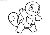 Покемон Сквиртл (Squirtle) - скачать и распечатать раскраску. Раскраска Сквиртл - Стартовый покемон Водного типа. Эволюционирует в покемона Вартотл на 16 уровне