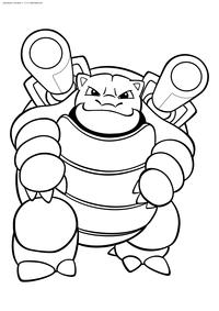 Покемон Бластойз (Blastoise) - скачать и распечатать раскраску. Раскраска Бластойз - покемон Водного типа. Эволюционирует из покемона Вартотл на 36 уровне