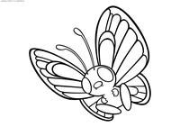 Покемон Баттерфри (Butterfree) - скачать и распечатать раскраску. Раскраска Баттерфри - покемон двух типов: Насекомый и Летающий. Эволюционирует из покемона Метапод на 10 уровне