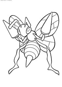 Покемон Бидрил (Beedrill) - скачать и распечатать раскраску. Раскраска Покемон-оса. Бидрил - покемон двух типов: Насекомый и Ядовитый. Эволюционирует из покемона Какуна на 10 уровне