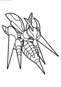 Покемон Мега Бидрил (Mega Beedrill) - скачать и распечатать раскраску. Раскраска Мега-эволюции, покемон