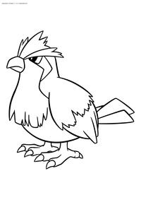 Покемон Пиджи (Pidgey) - скачать и распечатать раскраску. Раскраска Покемон-птица. Пиджи - покемон двух типов: Нормальный и Летающий. Эволюционирует в покемона Пиджеотто на 18 уровне