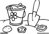 Песочница - скачать и распечатать раскраску. Раскраска Раскраска для малышей, формочки, совок, ведерко, простая раскраска для самых маленьких, песочница