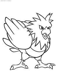 Покемон Спироу (Spearow) - скачать и распечатать раскраску. Раскраска Покемон-птица. Спироу - покемон двух типов: Нормальный и Летающий. Эволюционирует в покемона Фироу на 20 уровне