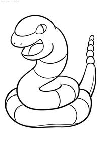 Покемон Эканс (Ekans) - скачать и распечатать раскраску. Раскраска Покемон-змея. Эканс - покемон Ядовитого типа. Эволюционирует в покемона Эрбок на 22 уровне