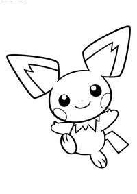 Покемон Пичу (Pichu) - скачать и распечатать раскраску. Раскраска Пичу - покемон Электрического типа. Эволюционирует в покемона Пикачу