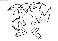 Покемон Райчу (Raichu) - скачать и распечатать раскраску. Раскраска Райчу - покемон Электрического типа.<br>Эволюционирует из покемона Пикачу