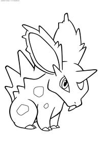 Покемон Нидоран (Nidoran) самец - скачать и распечатать раскраску. Раскраска Нидоран М - покемон Ядовитого типа. Эволюционирует в покемона Нидорино на 16 уровне