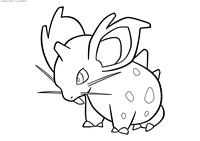Покемон Нидоран (Nidoran) самка - скачать и распечатать раскраску. Раскраска Нидоран (Nidoran) самка - покемон ядовитого типа. Является самкой Нидорана. Это небольшой покемон голубого цвета, внешне напоминающий кролика. У неё большие уши и выступающие передние зубы. В отличие от мужских особей, имеет сравнительно меньший рог на лбу и более заметные тёмные пятна на тельце. Эволюционирует в Нидорину