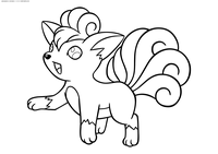 Покемон Вульпикс (Vulpix) - скачать и распечатать раскраску. Раскраска Покемон-лиса. Вульпикс - покемон Огненного типа. Эволюционирует в покемона Найнтейлс с помощью Огненного камня