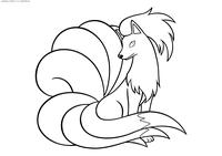 Покемон Найнтейлс (Ninetales) - скачать и распечатать раскраску. Раскраска Найнтейлс - покемон Огненного типа. Эволюционирует из покемона Вульпикс с помощью Огненного камня