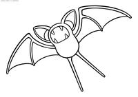 Покемон Зубат (Zubat) - скачать и распечатать раскраску. Раскраска Зубат - покемон двух типов: Ядовитый и Летающий. Эволюционирует в покемона Голбат на 22 уровне