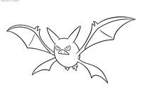 Покемон Кробат (Crobat) - скачать и распечатать раскраску. Раскраска Кробат - покемон двух типов: Ядовитый и Летающий. Эволюционирует из покемона Голбат при повышении уровня при счастье от 220
