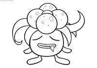 Покемон Глум (Gloom) - скачать и распечатать раскраску. Раскраска Глум - покемон двух типов: Травяной и Ядовитый. Эволюционирует из покемона Оддиш на 21 уровне. Эволюционирует в покемона Вайлплум с помощью Лиственного камня. Эволюционирует в покемона Беллоссом с помощью Солнечного камня