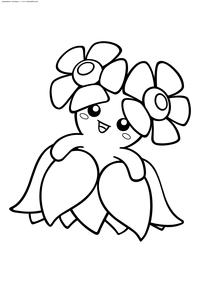 Покемон Беллоссом (Bellossom) - скачать и распечатать раскраску. Раскраска Беллоссом - покемон Травяного типа. Эволюционирует из покемона Глум с помощью Солнечного камня