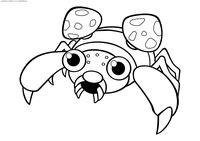 Покемон Парас (Paras) - скачать и распечатать раскраску. Раскраска Парас - покемон двух типов: Насекомый и Травяной. Эволюционирует в покемона Парасект на 24 уровне
