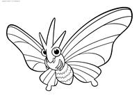 Покемон Веномот (Venomoth) - скачать и распечатать раскраску. Раскраска Веномот - покемон двух типов: Насекомый и Ядовитый. Эволюционирует из покемона Венонат на 31 уровне