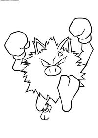 Покемон Манки (Mankey) - скачать и распечатать раскраску. Раскраска Манки - покемон Боевого типа. Эволюционирует в покемона Праймэйп на 28 уровне
