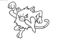 Покемон Праймэйп (Primeape) - скачать и распечатать раскраску. Раскраска Праймэйп - покемон Боевого типа. Эволюционирует из покемона Манки на 28 уровне