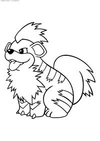 Покемон Гроулит (Growlithe) - скачать и распечатать раскраску. Раскраска Гроулит - покемон Огненного типа. Эволюционирует в покемона Арканайн с помощью Огненного камня