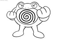 Покемон Полирот (Poliwrath) - скачать и распечатать раскраску. Раскраска Полирот - покемон двух типов: Водный и Боевой. Эволюционирует из покемона Поливирл с помощью Водного камня