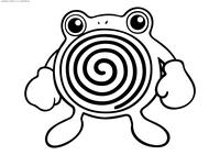 Покемон Поливирл (Poliwhirl) - скачать и распечатать раскраску. Раскраска Поливирл - покемон Водного типа. Эволюционирует из покемона Поливаг на 25 уровне. Эволюционирует в покемона Полирот с помощью Водного камня. Эволюционирует в покемона Политоед при обмене если покемон держит предмет Камень Королей
