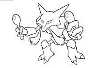 Покемон Алаказам (Alakazam) - скачать и распечатать раскраску. Раскраска Покемон