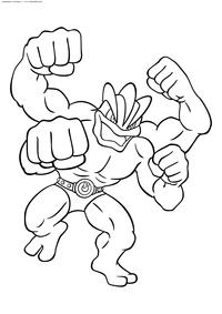 Покемон Мачамп (Machamp) - скачать и распечатать раскраску. Раскраска Мачамп - покемон Боевого типа. Эволюционирует из покемона Мачок при обмене