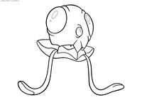 Покемон Тентакул (Tentacool) - скачать и распечатать раскраску. Раскраска Тентакул - покемон двух типов: Водный и Ядовитый. Эволюционирует в покемона Тентакруэль на 30 уровне