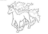 Покемон Рапидэш (Rapidash) - скачать и распечатать раскраску. Раскраска Покемон