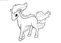 Покемон Понита (Ponyta) - скачать и распечатать раскраску. Раскраска Покемон