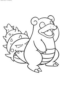 Покемон Слоубро (Slowbro) - скачать и распечатать раскраску. Раскраска Покемон